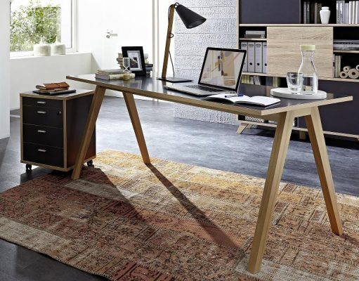 solid wood office desk with modern design